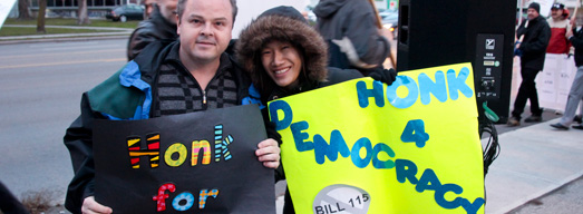 Photos from Friday Rally at Ontario Liberal MPP David Zimmer's Constituency Office – November 23, 2012