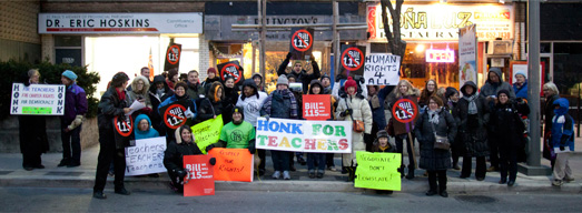 Photos and Video from Friday Rally at Ontario Liberal MPP Eric Hoskins's Constituency Office – November 30, 2012