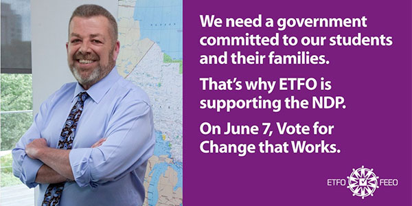 ETFO Media Release: Supporting the NDP and Change That Works For Majority of Ontarians