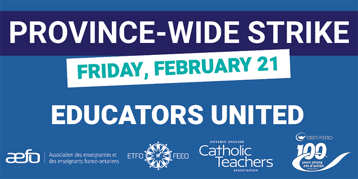ETFO Media Release: On February 21, Elementary and Secondary Educators Across Ontario Will Stand Up Against Cuts to Public Education