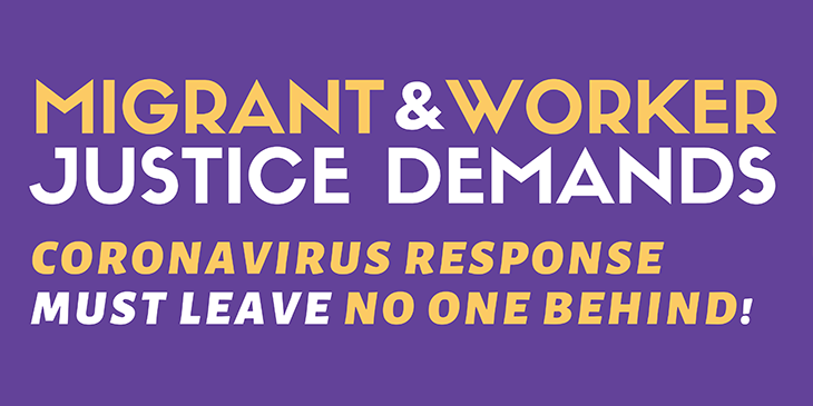 ETT Endorses Migrant and Worker Justice Demands: Coronavirus Response Must Leave No One Behind
