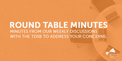 Round Table Minutes with the TDSB - October 20, 2020