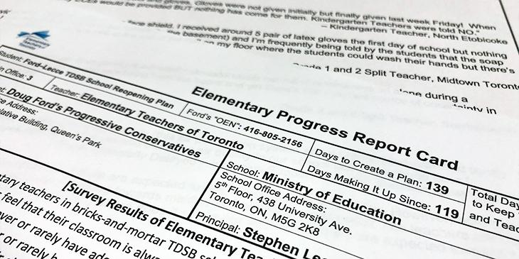 Media Release: The Ford Government's Underfunded Response to COVID-19 in Our Schools Earns a Failing Grade, Say Teachers in Progress Report Card